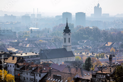 View of the Belgrade in the haze, Serbia