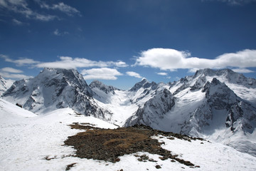 The beautiful landscape of the Caucasus Mountains