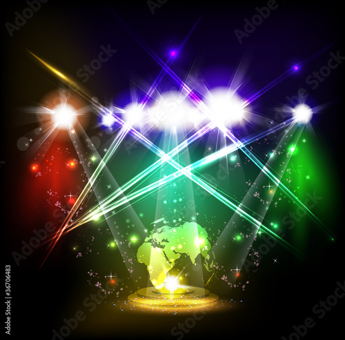 World neon light stage background