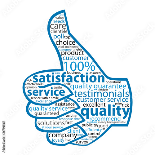 QUALITY- SERVICE-SATISFACTION Tag Cloud (thumbs up customer)