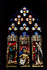 The mosaic window in cathedral of Saint-Jean, Lyon, France.