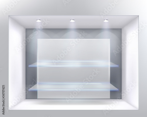 Show-window of shop. Vector illustration.
