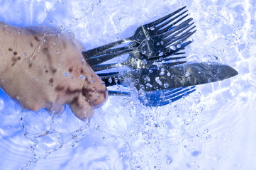Washing flatware