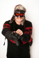 Snowboarder mit Handschuh