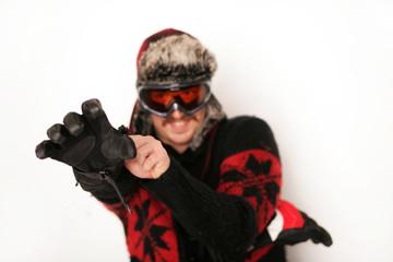 Boarder mit Winterhandschuh