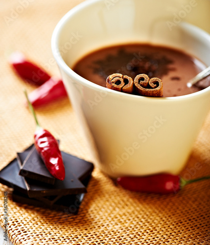 Hot chocolate with chili pepper and cinnamon