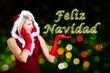 Miss Santa showing Feliz Navidad