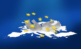 disintegration of the European Union and Euro currency poster