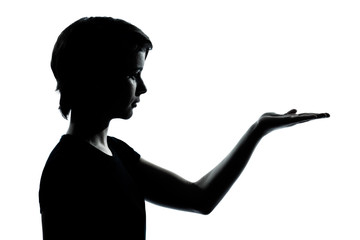 one young teenager boy or girl silhouette empty hands open