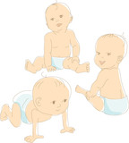 Funny babies in diapers, crawling, sitting, vector illustration