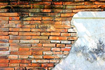 Very old and worn brick wall hard