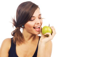 Lovely girl biting an apple