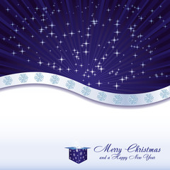 Blue christmas background with stars, gift box and snowflakes