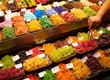 Sweets on market stall in La Boqueria, Barcelona