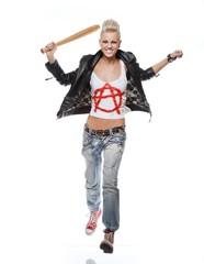Punk girl with a baseball bat running.