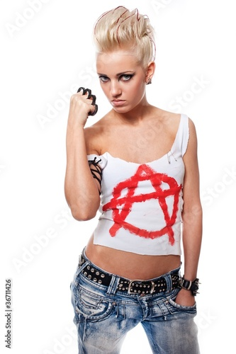 Punk girl with a brass knuckles.