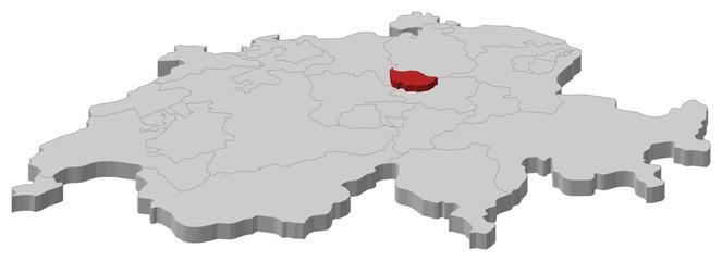 Map of Swizerland, Zug highlighted