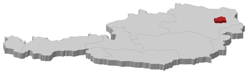 Map of Austria, Vienna highlighted