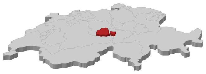 Map of Swizerland, Obwalden highlighted