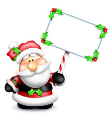 Gumdrop Santa Holding Sign