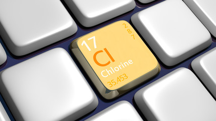 Keyboard (detail) with Chlorine element