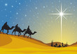 Classic three magic scene and shining star of Bethlehem. - 36713870