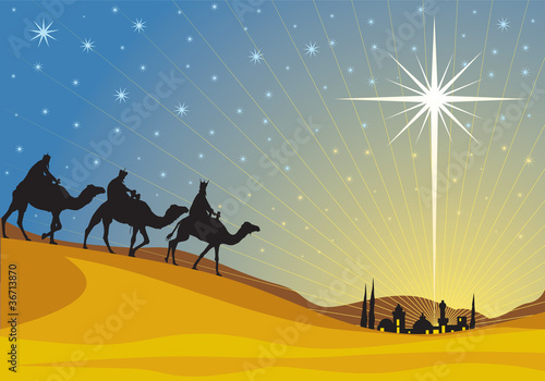 Classic three magi scene and shining star of Bethlehem. - 36713870