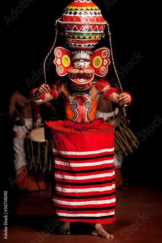 Kathakali performer in a mask, Kerala, South India