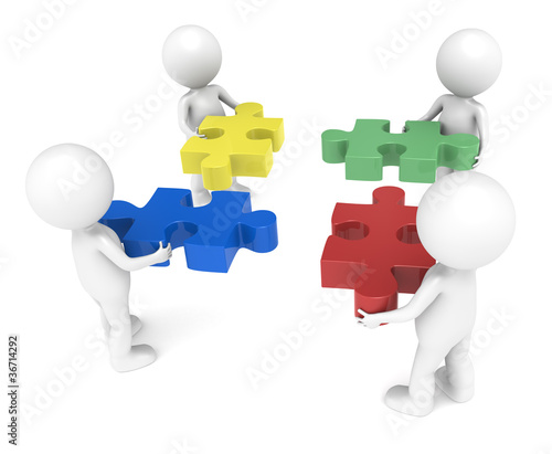 3d little human character X4,each one holding a piece.