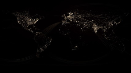 Glowing Network Lines Lighting Up World Map (Gold Version)