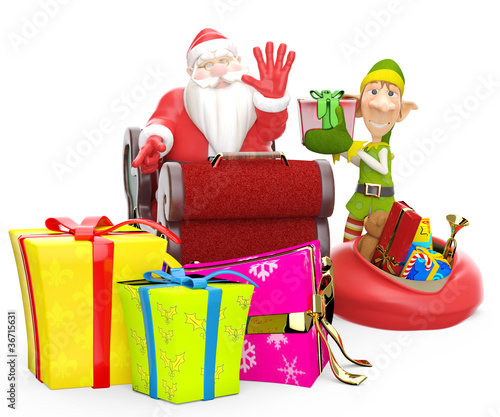 santa and his elf helper with loads of gifts