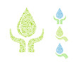 water drop with hands. go green eco concept