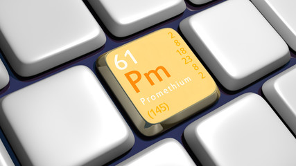 Keyboard (detail) with Promethium element