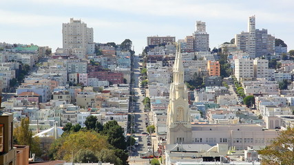 Russian Hill,church and houses