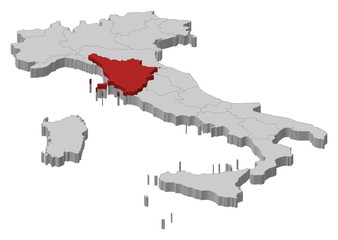 Map of Italy, Tuscany highlighted