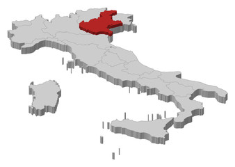 Map of Italy, Veneto highlighted