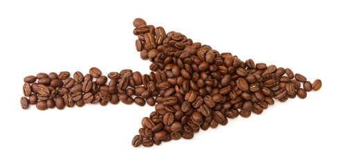 arrows made from coffee beans on white background
