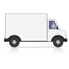 Vector white van and man driver. Isolated.