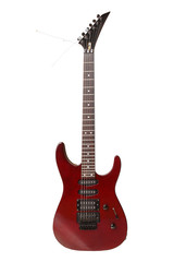 Red Electric Guitar Isolated on White