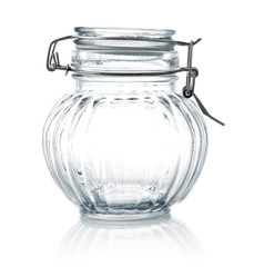 empty glass jar with lid isolated on white background