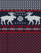 Knitted background with Christmas deers and snowflake