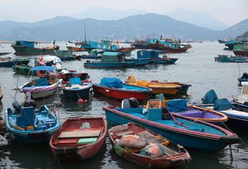 Fishing and house boats in Cheung Chau harbour. Hong Kong.