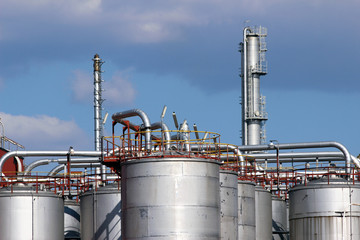steel tanks and pipe in oil refinery
