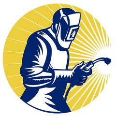 welder welding worker retro