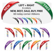 Vector corner ribbons - new, best, buy, free, sale angled label.