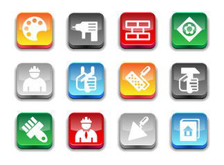 3d glossy simple work tool icons.