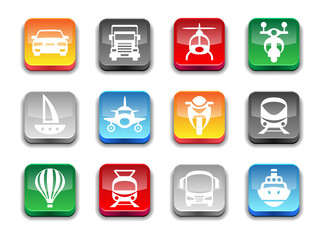 3d glossy simple transport icons.