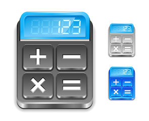 Calculator icon. Black, silver and blue color.