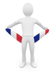 Personnage 3d français ruiné tirant sur ses poches