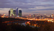 Evening panorama of Moscow City complex of skyscrapers and river